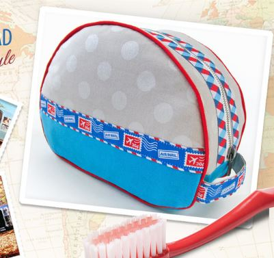 Rounded zippered toiletry bag free sewing pattern