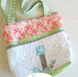 Quilted zippered tote bag free sewing pattern