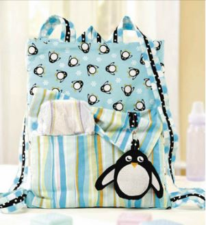 Backpack with penguin design free sewing pattern