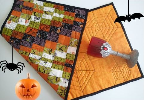 Halloween table runner from scraps free sewing pattern