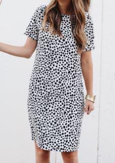 Woman's easy short sleeve shift dress sewing pattern