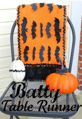 Hallween table runner with bat motif free sewing pattern