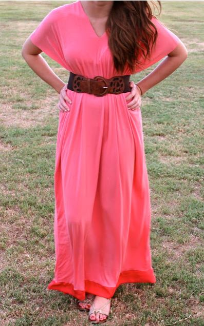 Womens long maxi dress with short sleeves sewing pattern