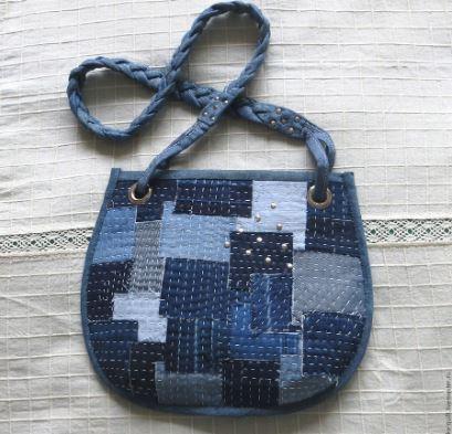Patchwork denim jeans purse bag sewing pattern
