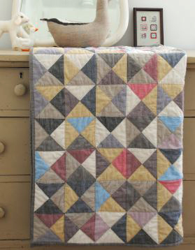 Baby quilt broken dishes triangle design free pattern