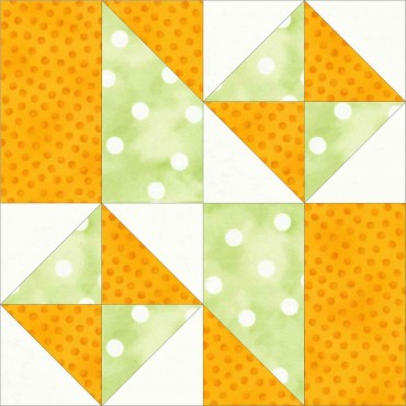 12 inch free quilt block pattern with squares, triangles, and rectangles