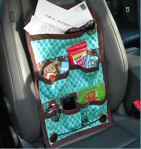 Car seat caddy organizer with pockets free sewing pattern