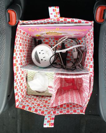 Bucket style car organizer with dividers free sewing pattern