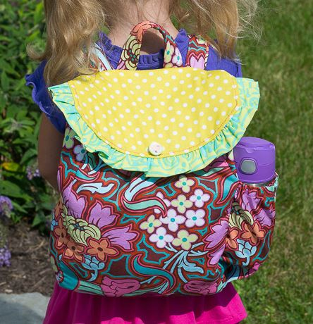 Child's backpack with ruffle free sewing pattern