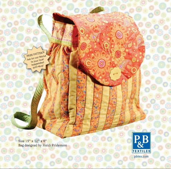 Quilted child's backpack free sewing pattern