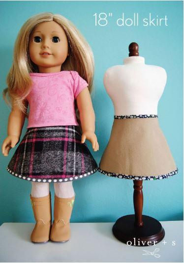 American girl 18 inch doll circle skirt free sewing pattern