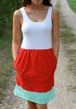 Womens sleeveless knit tank dress sewing pattern