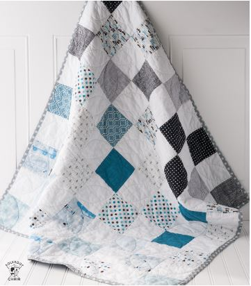 Easy baby boy quilt with square check design