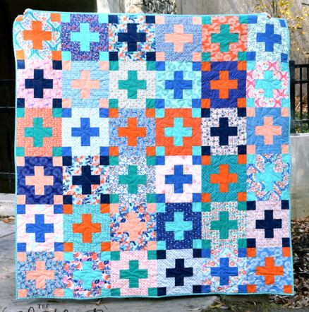 Quilt with plus or cross design free pattern
