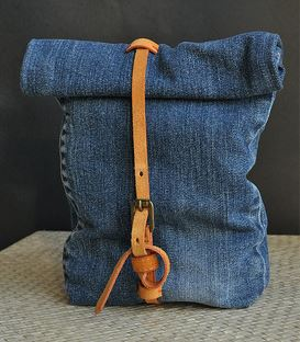Denim jeans fold over snack or lunch bag sewing pattern