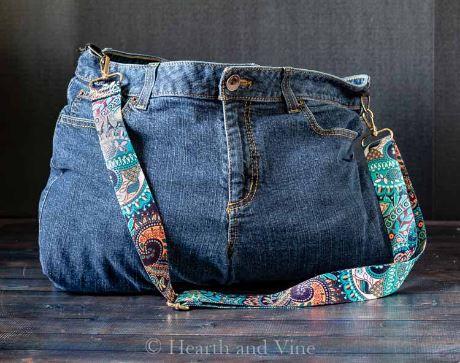 Denim jeans sling bag or purse sewing pattern