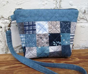 Patchwork denim makeup or cosmetic bag with zipper top sewing pattern