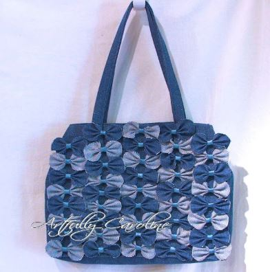 Denim bag or purse with bows sewing pattern
