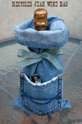 Denim jeans wine bag sewing pattern