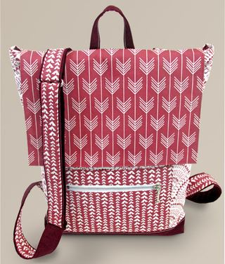 Fabric backpack with handle free sewing pattern