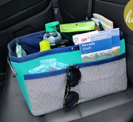 Bucket car organizer with divider sections free sewing pattern