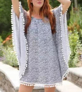 Beach poncho with pom poms free sewing pattern