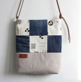 Denim patchwork sling purse bag sewing pattern
