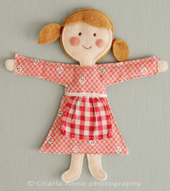 Flat girl felt doll free sewing pattern
