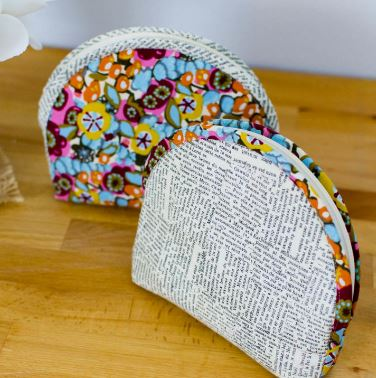 Zippered fabric bag from fat quarter free sewing pattern