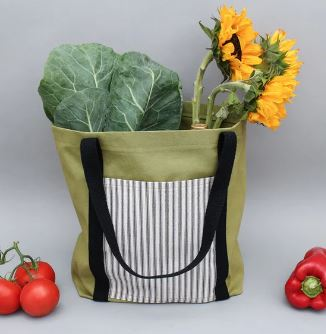 Flat bottom tote bag with outside pocket free sewing pattern