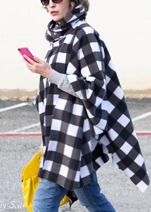 Hooded poncho from fleece free sewing pattern