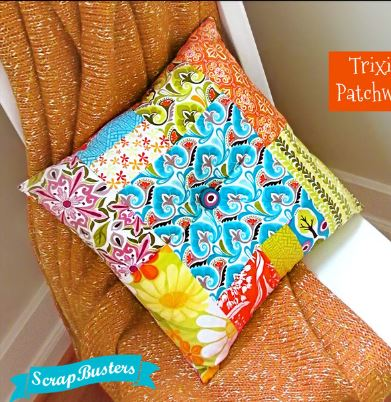 Patchwork pillow from fabric scraps sewing project