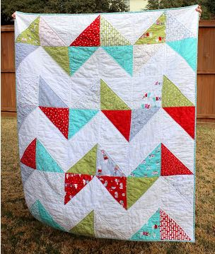Easy quilt with chevron design free pattern