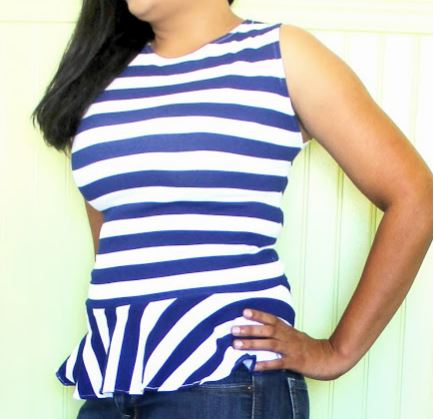 Womens easy knit peplum sleevless top or shirt sewing pattern