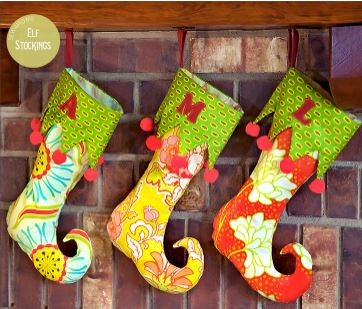 Elf stocking with cuff and curled toe free sewing pattern