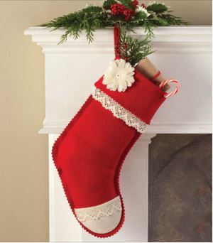 Felt stocking with lace free sewing pattern