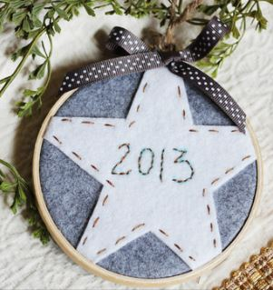 Embroidery hoop holiday ornament free pattern