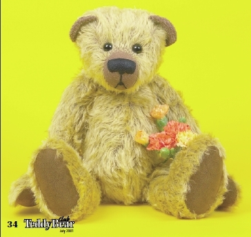 Mohair vintage style jointed teddy bear free sewing pattern