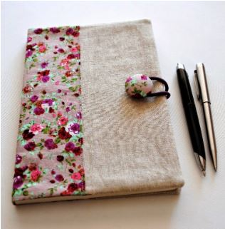 Fabric note book cover free sewing pattern
