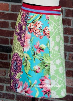 A-line skirt from fat quarters free sewing pattern