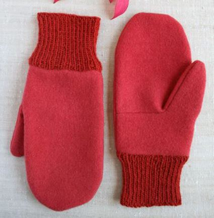 Fabric mittens with knit cuffs sewing pattern