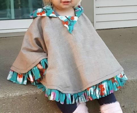 Child fleece lined poncho with hood and fring free sewing pattern