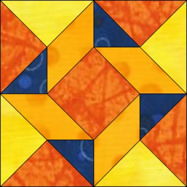 Flying triangles free quilt block pattern