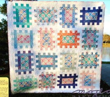 Scrap quilt with squared design free pattern
