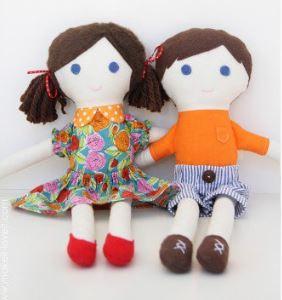 Girl and boy fabric rag dolls free sewing pattern