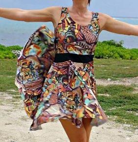Women's sleevless summer tank dress with flowy skirt sewing pattern