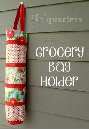 Fat quarter fabric grocery bag holder free sewing pattern
