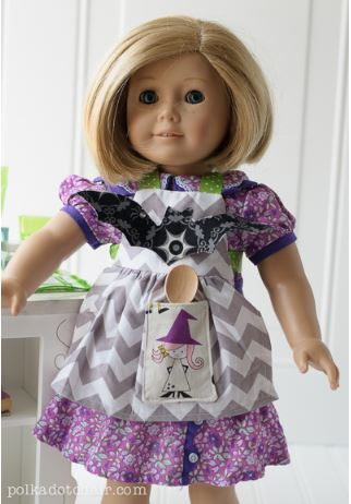 American girl 18 inch doll short sleeve dress for Halloween free sewing pattern