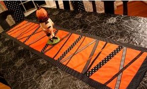 Halloween table runner with ribbon embellishment free sewing pattern