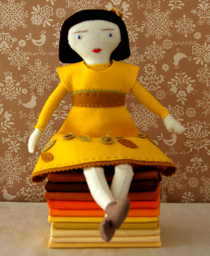 Felt fabric girl doll free sewing pattern